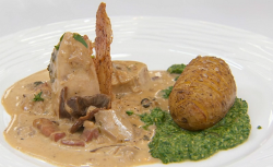 Chris' tarragon chicken in mushroom sauce with hassleback potatoes on Masterchef 2018