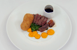 Kenny's venison loin with croquette and beetroot and a juniper sauce on Masterchef 2018