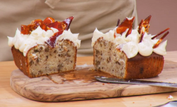 Ella Eyre banoffee and walnut loaf cake on  The Great Celebrity Bake Off Stand Up to Cancer