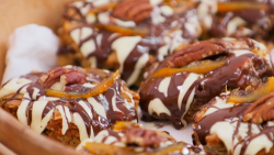 Griff Rhys Jones white chocolate with apricot and pecan blondies on The Great Celebrity Bake Off ...