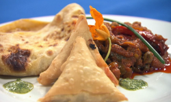 The Blue Team's vegetarian aubergine and pepper curry with spinach and ricotta samosa and  ...