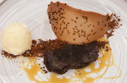 Kenny's baked bitter chocolate ganache with bee pollen crumb, smoked caramel sauce and a a ...