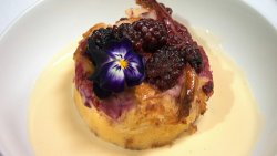Red Team's brioche bread and butter pudding with quince jam, lavender custard and blackber ...