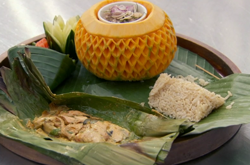 Nawamin's banana leaf trout curry with rice and carved vegetables on Masterchef 2018