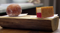 Nawamin's damson jam doughnut with a ice cream sandwich dessert using Tommy Banks' recipe  ...