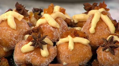 Rebecca Seal Spanish hot cross bun doughnuts on Sunday Brunch