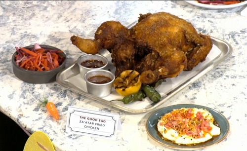 Rebecca Seal za'atar fried chicken with pickled cucumber on Sunday Brunch