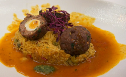 Moonira's  Indian scotch eggs with rice and masala sauce recipe on Masterchef UK 2018