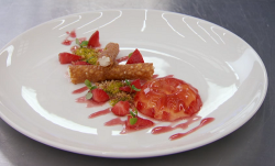 Kenny's cannoli with a tonka bean filling and strawberry jelly on Masterchef 2018