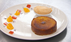 Simon's orange, rosemary and polenta cake served with campari and orange gelato on Masterc ...