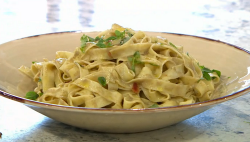 Katy Davidson oyster pasta on Sunday Brunch