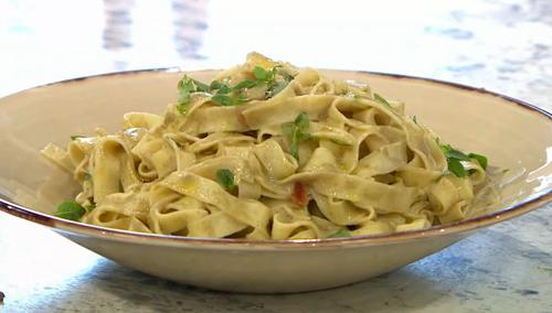 Katy Davidson oyster pasta on Sunday Brunch