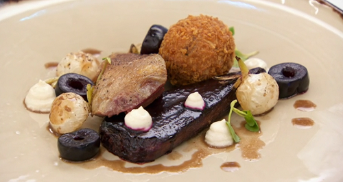 Kenny's roasted pigeon breast with beetroot, turnips and bread sauce main course on Master ...
