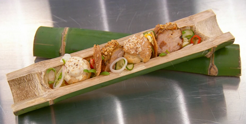 Nawamin's  pork satay with profiteroles and white chocolate on Masterchef 2018