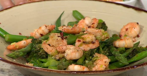 Melissa Hemsley tamarind ginger greens and prawns with mum's chilli sauce on Sunday Brunch