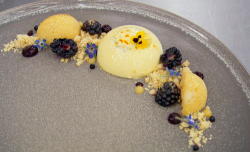 Moonira's  saffron and vanilla panna cotta with lemon polenta cake on Masterchef 2018