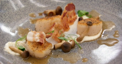 Kenny's roasted scallops with mushrooms and a rose chicken sauce starter on Masterchef 201 ...