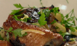 Nigel Slater Sticky Chicken with preserved Lemons and Honey on Saturday Kitchen