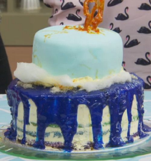 Teri Hatcher's rainbow cake on The Great Celebrity Bake Off Stand Up to Cancer