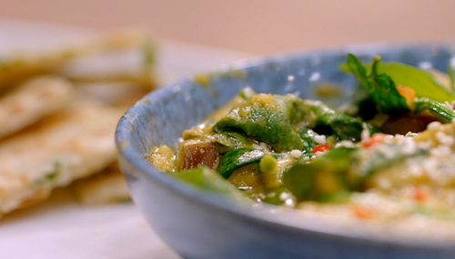 Pippa's aubergine curry with spinach and flatbreads Britain's Best Home Cook