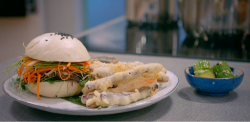 Pippa's beef short rib in a bao bun with tempura chips on Britain's Best Home Cook