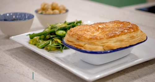 Katie's chicken and cockle penclawdd pie with laverbread and vegetables on BBC One Britain ...