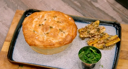 Tobi' chicken gizzard and plantain pie on Britain's Best Home Cook