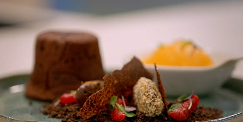 Pippa's chocolate fondant with persimmon and sea buckthorn on Britain's Best Home Cook