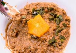 Tilly's chocolate porridge with orange and pumpkin seeds on Matilda and the Ramsay Bunch