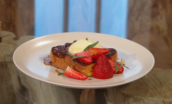 Dan Doherty's Custard-soaked eggy bread French toast with strawberries and cream dessert o ...