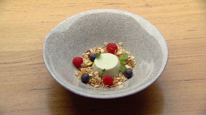 Red Team's Yoghurt Panna Cotta with Granola on MasterChef Australia 2018
