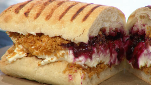 Max Halley jam sandwich with mascarpone cheese on Sunday Brunch