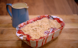 Katie' plum crumble with custard on Britain's Best Home Cook
