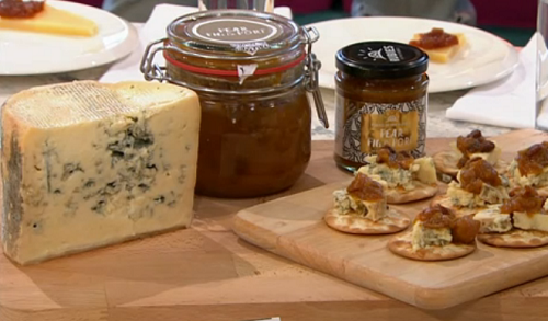 Pear, fig and port chutney with crozier blue cheese on Sunday Brunch