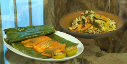 Freddy Forster sea bream in banana leaves with plantain salad on Saturday Kitchen