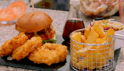 Katie's Welsh rarebit cheese and bacon burger on Britain's Best Home Cook
