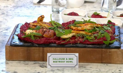 John Gregory Smith's halloumi and BBQ beetroot bowl on Sunday Brunch