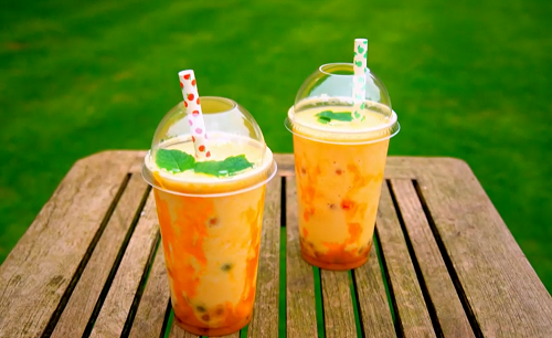 Tilly's boba tea with tapioca pearls, mango  and milk on Matilda and the Ramsay Bunch