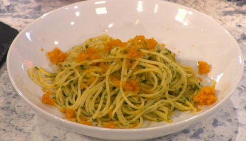 CJ Jackson's bottarga with pasta on Sunday Brunch
