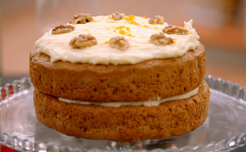 Dipa's carrot cake with cream cheese and nuts on Britain's Best Home Cook