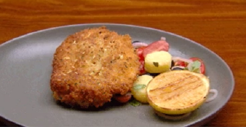 Gina Ottaway's chicken schnitzel with Italian potato salad on MasterChef Australia 2018