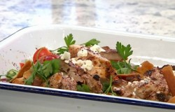 John Gregory Smith Lebanese fattoush with sumac, chicken and feta salad on Sunday Brunch