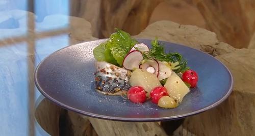 Helena Puolakka mackerel with gooseberries and radish on Saturday Kitchen