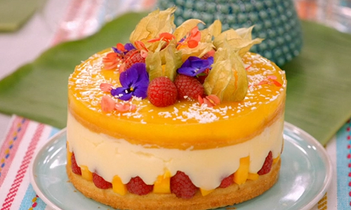 Pippa's mango and raspberry cake using Mary Berry's recipe on Britain's Best H ...