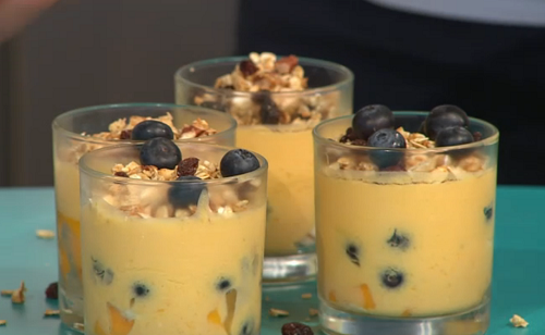 Simon Rimmer and Adam Lambert's mango coconut mousse with granola crumb on Sunday Brunch