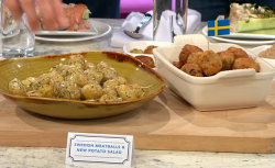Bronte Aurell's Swedish meatballs with new potatoes on Sunday Brunch