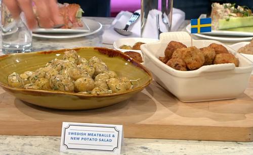Bronte Aurell's Swedish meatballs with new potatoes on Sunday Brunch