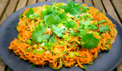 Tilly's slippery spiralized noodles with spicy peanut sauce on Matilda and the Ramsay Bunch