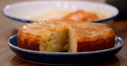 Pippa's pear and ginger upside down cake with ginger ice cream on Britain's Best Home Cook