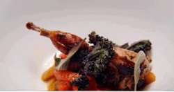 Red Team's marinated quail with charred capsicum and crispy sage on MasterChef Australia 2018
